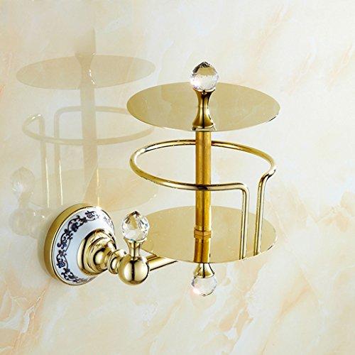 KKY-ENTER Retro Brass Goldene Farbe Personalisierte Papier Handtuch Korb Sanitär Serviette Roll Papierhalter Toilettenpapier Stand Kristall Dekoration (Papier-handtücher Personalisierte)
