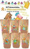 6X Bunte Geschenktüten zum Befüllen Weihnachten 2018 - liebevoll Bedruckte Tüten für kleine und große Kinder ;, aus Kraftpapier, Advent, Weihnachten, DIY, Handmade. 100% recyclebar!
