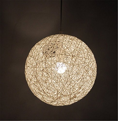 larsure Vintage Modern Lampe Plafonnier Lustre Suspension de vent Bar Lustre chandelier une tête de restaurant Lustre Antik Rattan boule de fil Bougeoir 40 cm weben (220–240 V)