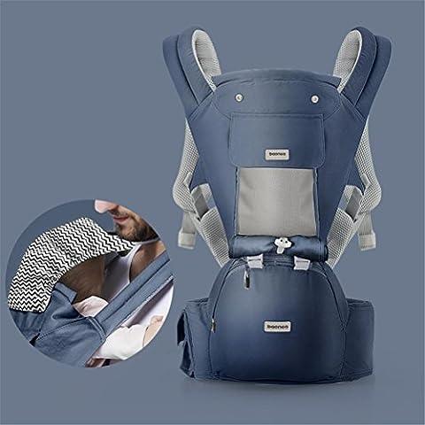 Babytrage Babybauchtragen Baby-Träger Breathable Baumwoll-Hüft-Sitzträger Ergonomische Entwurfs-Vielzahl tragen Wege mit abnehmbarem Sitz justierbare Neugeborene Beweglicher Multifunktionsrucksack-Fördermaschine für vier Jahreszeiten Maximales 36kg , blue