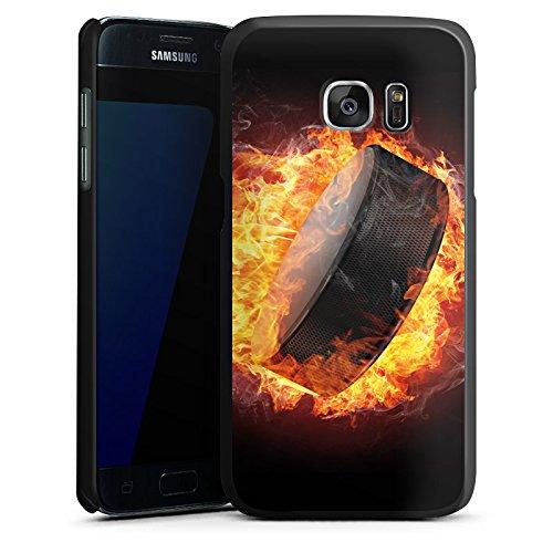 DeinDesign Hülle kompatibel mit Samsung Galaxy S7 Handyhülle Case Eishockey Flammen Slapshot