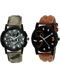 Xforia Boys Watch Army & Brown Leather Fancy Analog Watches For Men Pack Of 2