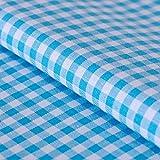 Hans-Textil-Shop Stoff Meterware Vichy Karo 5x5 mm Türkis Baumwolle