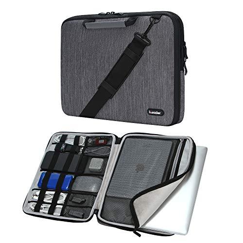 iCozzier 15-15.6 Zoll Griff Laptop Aktentasche Umhängetasche Elektronisches Zubehör Organizer Messenger Tragetasche mit Schultergurt - Grau -