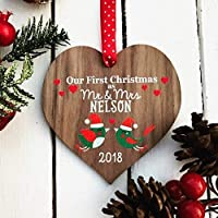 Our first Christmas as Mr and Mrs | married wedding decoration | couples gift | personalised tree bauble for wife husband