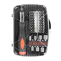 Black+Decker 40 Pieces Ratchet Screwdriver with Socket & Screwdriver Bitset in Kitbox , Black - A7062-XJ, 2 Years Warranty