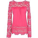 Elite99 Women Long Sleeve Embroidery Lace Chiffon Tops
