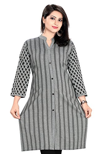 Meher Impex Women's Cotton Achkan Style 3/4 Sleeves Long Kurti (Grey_XXL)