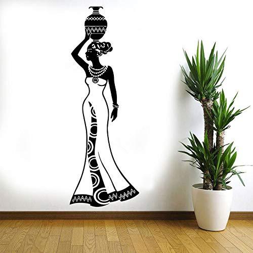 guijiumai Wand Vinyl Aufkleber Decals Wandbild Raumgestaltung Muster Kunst Dekor Afrikanerin Mädchen Afrika Kultur Tanzstil Krug Vase rot L 57x164cm -
