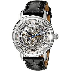 Lucien Piccard Paragon Herren-Armbanduhr 45mm Armband Leder Schwarz Gehäuse Edelstahl Automatik 40036A-02S