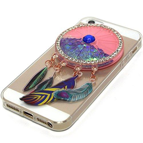 Coque iPhone 5S , Etui Housse iPhone 5 / SE Liquide Sables Mouvants Bling Glitter Paillettes Enveloppe Coque Flexible Gel Silicone Transparente TPU pour iPhone 5 / 5S / SE (4.0 pouces) Case Cover E-Lu Violet
