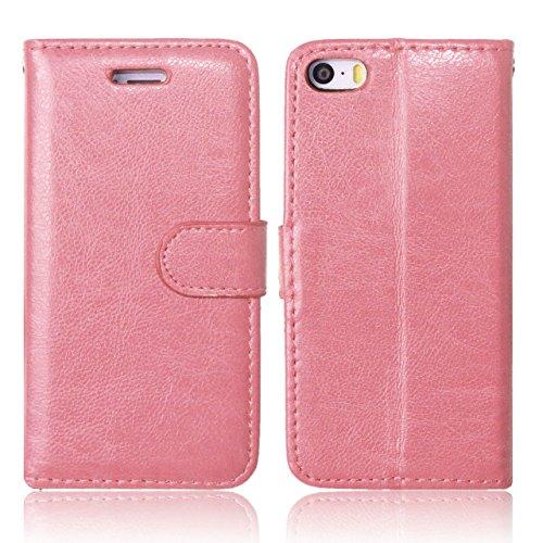 iPhone Case Cover Premium PU-lederner Fall-fester Farben-Mappen-Standplatz-Fall-Silikon-Abdeckung für iPhone 5S 5 SE ( Color : Blue , Size : IPhone 5S SE ) Pink