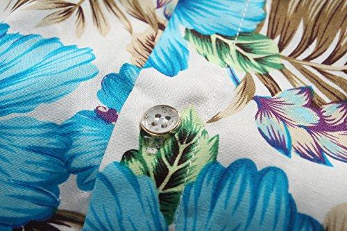 SSLR Herren Blumen Baumwolle Freizeit Regular Fit Button Down Kurzarm Hemd Blau Hibiskus