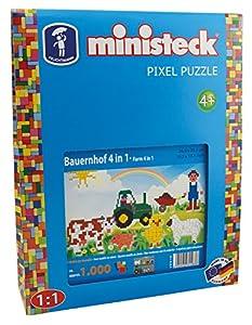 Ministeck 31583-Granja 4en 1, steckplatte, Accesorios, Aprox. de 1000Piezas