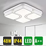 HG 48W LED Deckenleuchte Wohnzimmer Modern Kaltweiss IP44 Quadratisch Weiß Schlafzimmer Leuchte EsszimmerLampe Wohnzimmerlampe Küchenlampe Decke [Energieklasse A++]