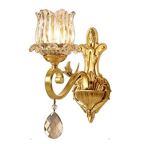 Unbekannt Europäischen Stil Wandleuchte Einfache Kupfer Kristallglas Goldene Bronze Atmosphäre E14 Wohnzimmer Restaurant Studie Bad Korridor Schlafzimmer Einzelkopf Doppelkopf MUMUJIN - Golden Bronze 8 Licht