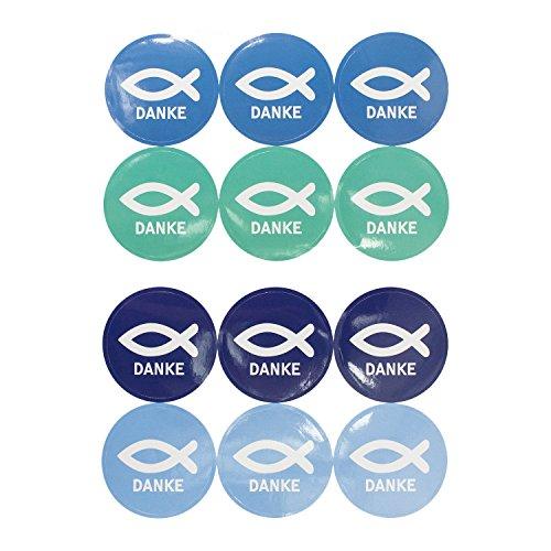 Oblique Unique® Fisch Sticker Danke 24 STK. Aufkleber mit Schriftzug für Christliche Kommunion Taufe Konfirmation Hochzeit