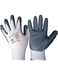12 Pairs Of Nitrile Coated Nylon Work Gloves All Sizes (10 / XL)