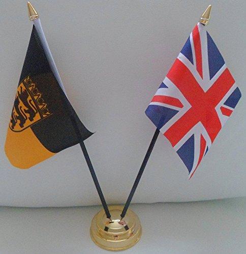 Baden Deutschland Flagge Union Jack, Freundschaft Tabelle 2-Kopf mit goldfarbenem Sockel -