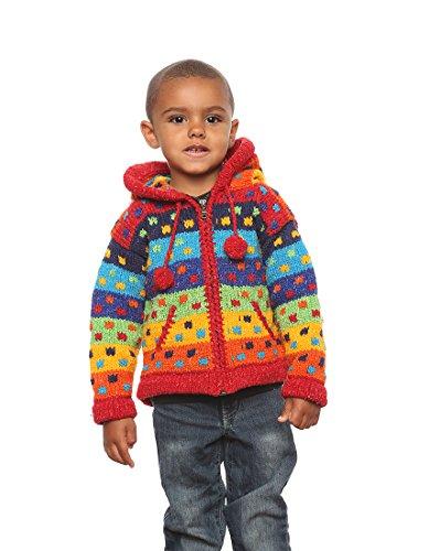 """Mädchen - Otavalo Wolle/Baumwolle-Mischung - Handgestrickete Kapuzenjacke """"Kleine Quadrate"""" - Strickjacke mit Reißverschluss - Größe: 8-10 Jahre alt"""
