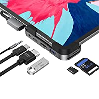 iPad Pro USB C Hub, iPad Pro 2018 2019 2020 12.9/11 Inch Adapter, 6-in-1 iPad Pro Dongle with 4K HDMI, USB-C PD Charging, SD/Micro Card Reader, USB 3.0 & 3.5mm Headphone Jack, Work from Home