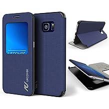Urcover® Samsung Galaxy S6 Edge | View Case Funda Protectora | Cross Pattern en Azul Obscuro | Carcasa Protección Completa Case Cover Smartphone Móvil Accesorio