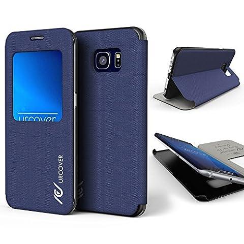 Urcover® Samsung Galaxy S6 Edge Plus Hülle View Case Schutzhülle Tasche Schale Galaxy S 6 Edge Plus Etui Handyschutz Dunkel Blau