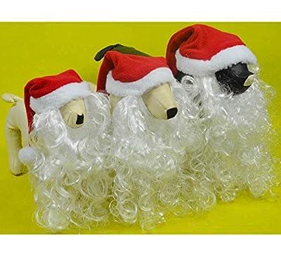 Doggie Style Store Santa Claus Hat Beard Set Dog Pet Puppy Cat Kitten Father Christmas Xmas Fancy Dress Costume - 3 Sizes
