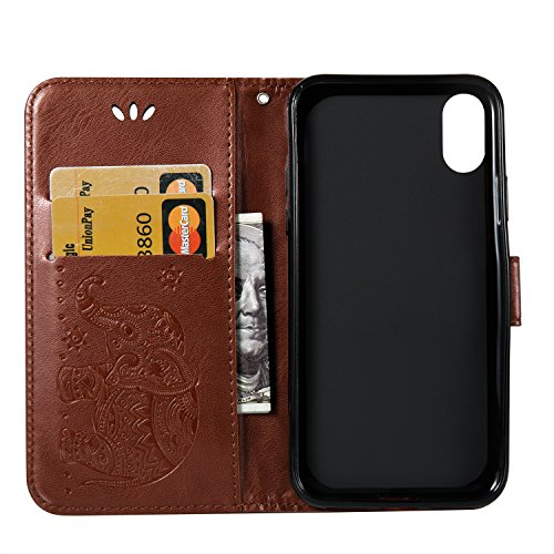 GR PU Leathe Heller Elefant Embosseing Patternr Fall Horizontale Flip Stand Brieftasche Beutel Case Cover mit Lanyard & Card Slots für iPhone X ( Color : Brown ) Brown