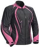 Juicy Trendz Damen Motorradjacke Frauen Wasserdicht Cordura Textil Motorrad Jacke Pink XX-Large (JT-K54)