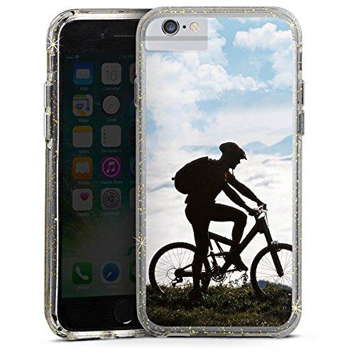 Apple iPhone X Bumper Hülle Bumper Case Glitzer Hülle Fahrrad Bicycle Mountainbike Bumper Case Glitzer gold