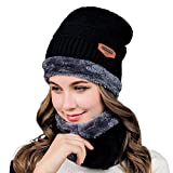 HIVER Handcuffs Unisex Acrylic Woolen Women's Beanie Cap Black_Medium