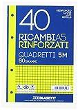 Blasetti 2329 - 40 Ricambi A5 Rinforzati con banda trasparente, Quadretti, Bianco , 80 grammi