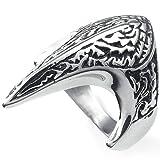 AMDXD Ring Edelstahl Herren Feuer Phönix Vogel Silber Schwarz Größe 70 (22.3)