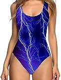 uideazone Damen Badeanzug One Piece Sexy Beleuchtung High Cut Blau