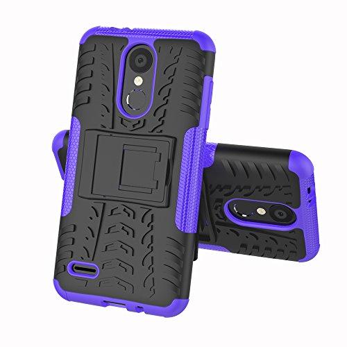 JTMall LG K8 2018-Hülle, modischer Fall Robustes TPU/PC-Doppelschicht-Mischpanzer, Kratzfeste PC-Rückseite + stoßfester TPU-Schutz + Faltbare Halterung (lila)