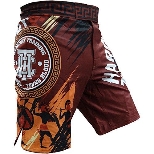 Shorts Hardcore Training Sparta Red-l Pantalones cortos MMA BJJ Fitness Grappling Hombre