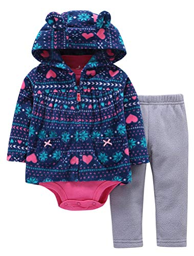 ARAUS Baby Kleidung Set Jungen Romper Langarm Sweatjacke Mädchen Outfits Hoodie Kombination 3-18 Monate (Baby 0 3 Monate Outfits)