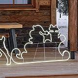 Figura Luminosa, Slitta con Babbo e Regali SMD Neon bifacciale 145 x h. 80 cm, 840 LED Bianco Freddo, Luce Fissa, Cavo Bianco, piedistallo, Esterno