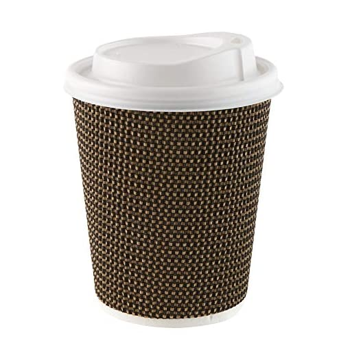 Ripple Hot Cups with Lids for Coffee and Takeaway Drinks – Triple Wall Insulated Disposable 12 oz Cups and White Leak Proof Lids
