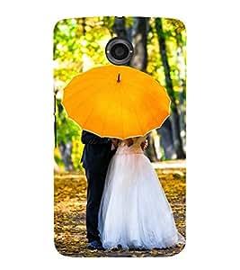 NEWLY MARRIED UNDER A YELLOW UMBRELLA 3D Hard Polycarbonate Designer Back Case Cover for Motorola Google Nexus 6 :: Google Nexus 6