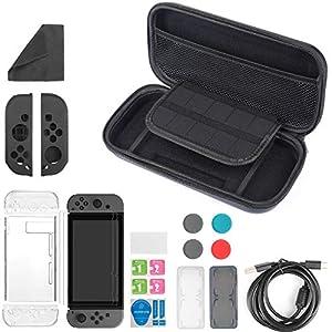 13 in 1 Zubehör für Nintendo Switch , Pomisty Tragetasche für Nintendo Switch , Nintendo Switch Tasche +Transparent Hülle +Schutzfolie+Joy-Con Tasche+Game Card Tasche + Daumen Kappen+Ladekabel