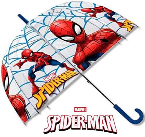 Glockenform Kinderschirm/ Regenschirm / Stockschirm für Kinder - robust, windfest , sicher transparent mit Sichtfenster - Marvel Motiv Spiderman