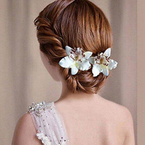 Blume Haarband–hinmay Fake Blume Brautschmuck Bohemia Haar Clip Party Sommer Haar Zubehör Haarspange Party Favor–2Packungen, weiß, Free Size