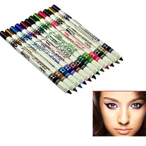 Gearmax® 12 Color Glitter Lip Liner Eye Shadow Eyeliner Pencil Pen Cosmetic Makeup Set