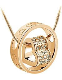 Monika Creations Golden Clear Love-in Crystal Hearts Necklace And Ring Pendant Heart Fashion Necklace