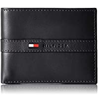 Tommy Hilfiger Black Leather For Men - Bifold Wallets