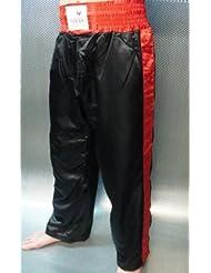 Tempête Sports Satin Pantalons Noir avec rayures rouges
