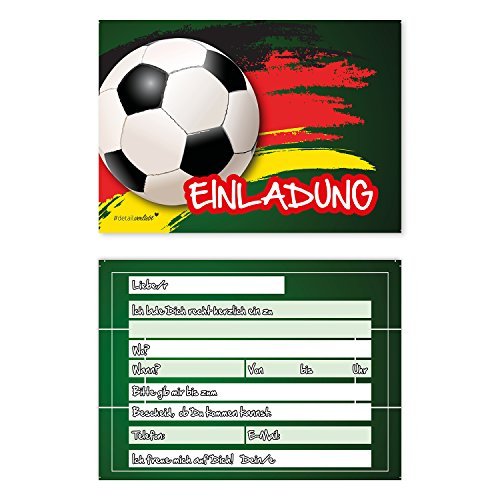 15 Fußball Einladungskarten I dv_037 I DIN A6 I Einladung Set Kinder-Geburtstag zur Einschulung zum Ausfüllen für Kinder Jungen Jungs
