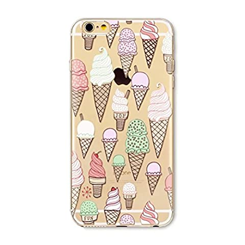 iPhone 7 Plus 5.5 Coque portable Silicone Etui Housse Souple Transparent TPU Etui Protection Cas caoutchouc Ultra Slim motifs Bumper Case Cover Couverture Anti-choc JINCHANGWU --Torch ice cream crème glacée